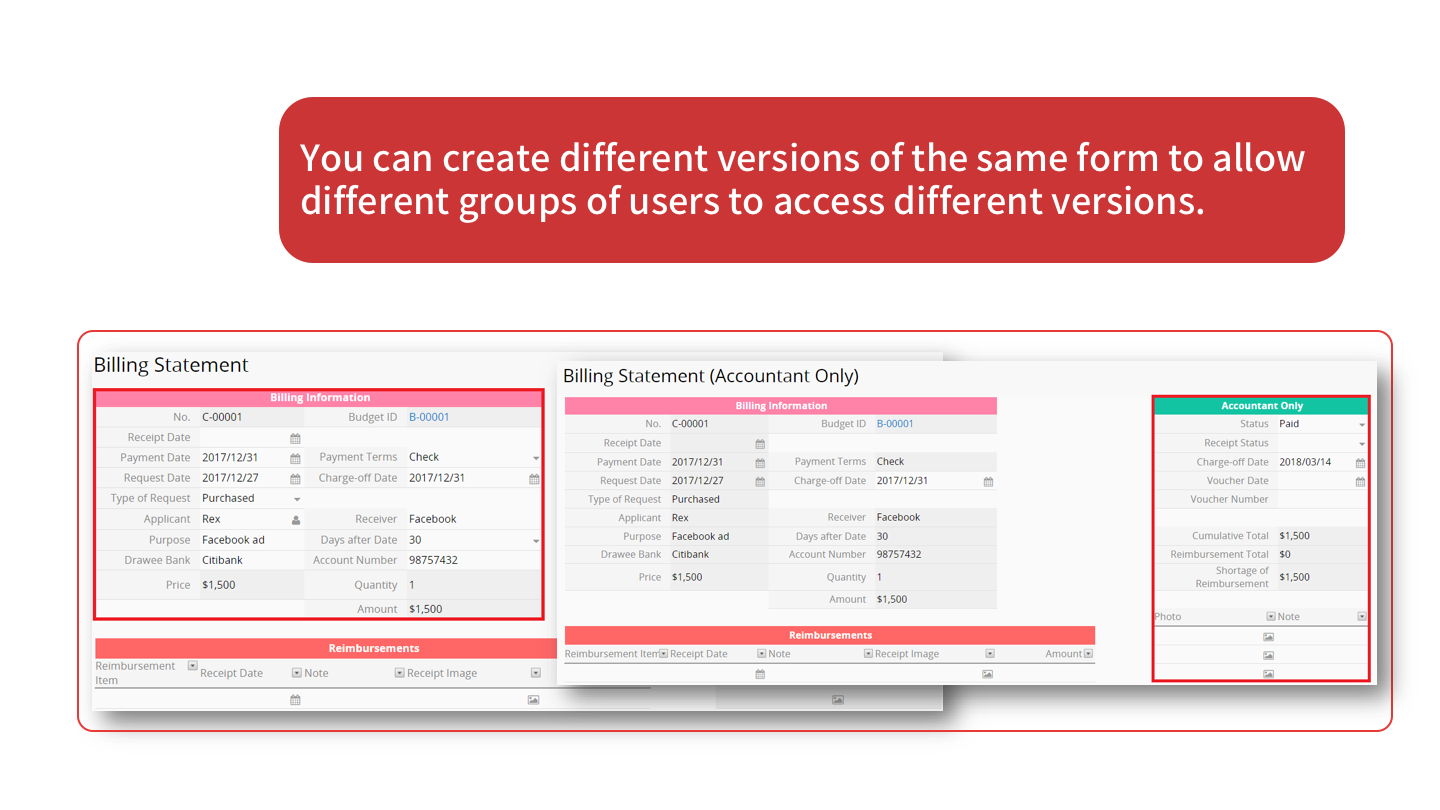 You can create different versions of the same form 	to allow different groups of users to access different versions.