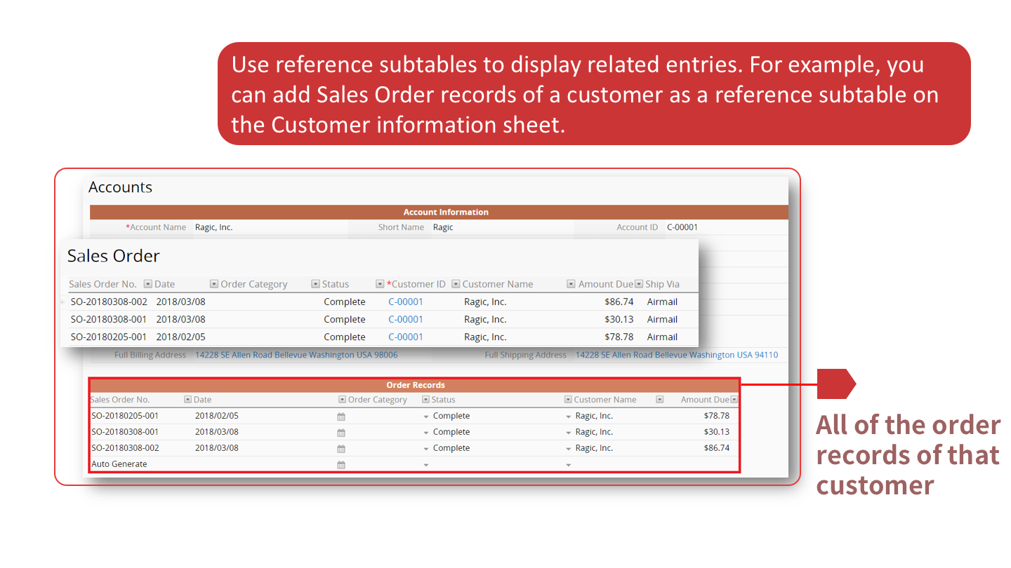 Use reference subtables to display related entries. For example, you can add Sales Order records of a customer as a reference subtable on the Customer information sheet.