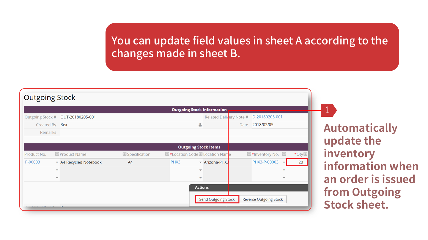 You can update field values in sheet A according to the changes made in sheet B