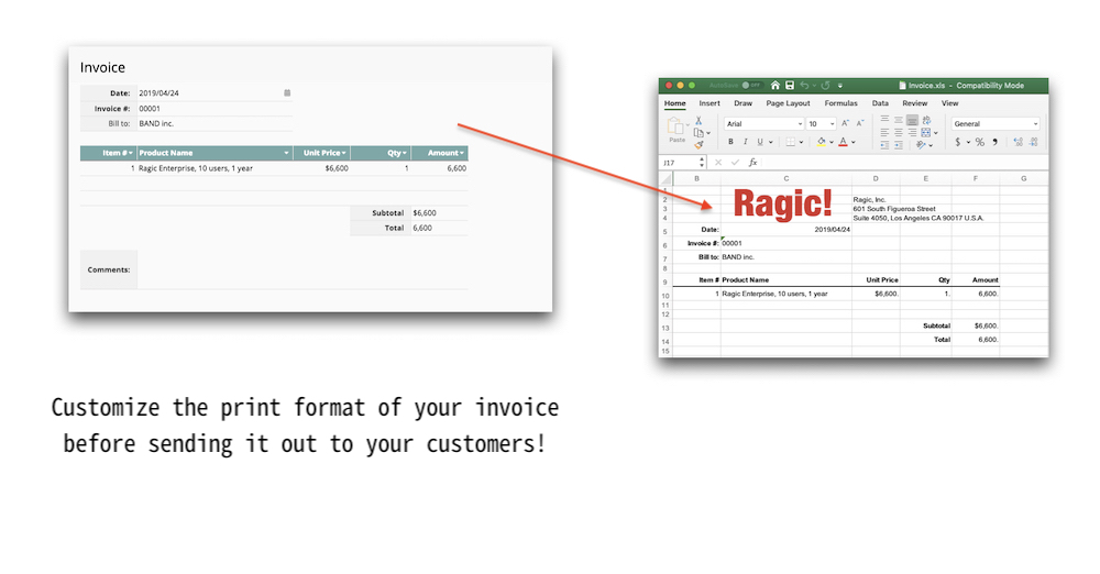 Customize the print format of your invoice before sending it out to your customers!